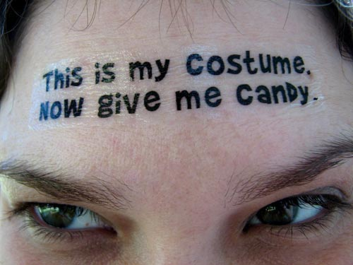 Give Me Candy Temporary Forehead Tattoo Costume