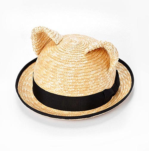 Wicker Hat With Cat Ears