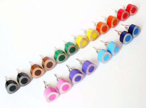 Colored Pencil Stud Earrings
