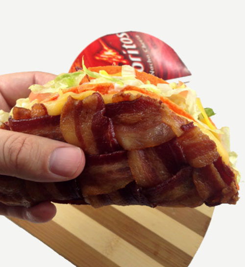 Bacon Weave Wrapped Doritos Taco Shell