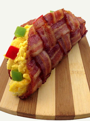 Bacon Weave Taco Shell Filled With Eggs And Bell Peppers
