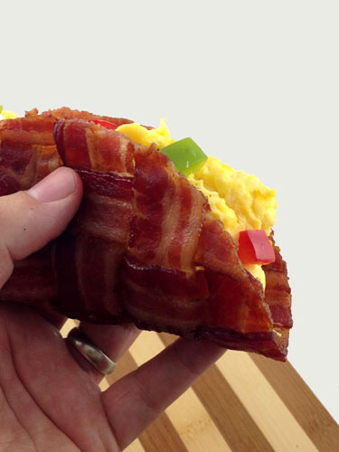 Bacon Taco Shell Filled With An Omelette