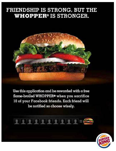 Burger King Campaign | Sacrifice 10 Facebook Friends