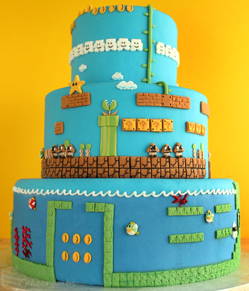 Three Tier Super Mario Brothers Decorated Cake