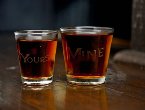 Yours and Mine Shot Glasses
