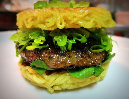 Ramen Noodle Bun Burger