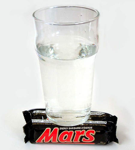 Glass of Water on Mars Candy Bars