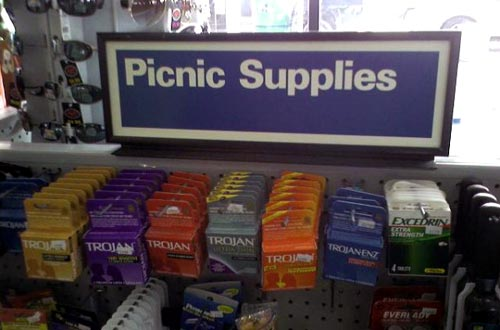 Condoms Sold In The Picnic Supplies Isle