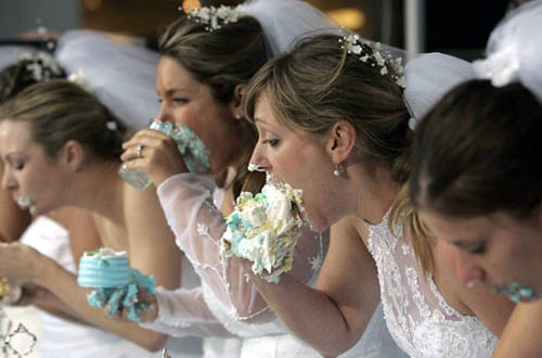 Bride Cake Eating Contest