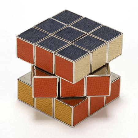 Rubiks Cube made from Solid Chrome with Leather Inlaid Sides