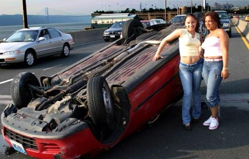 Posing for Car Accident Photo