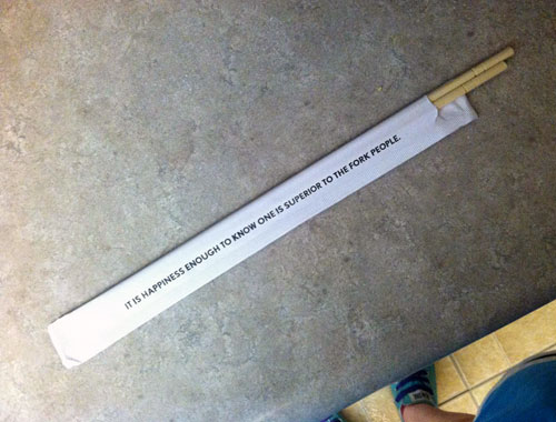 Chopstick Packaging States It Is Happiness Enough To Know One Is Superior To The Fork People