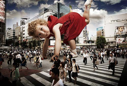 Giant Toddler does cartwheel Shibuya Crosswalk