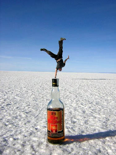 One Arm Handstand On A Bottle Illusion | Salt Flats In Uyuni, Boliva