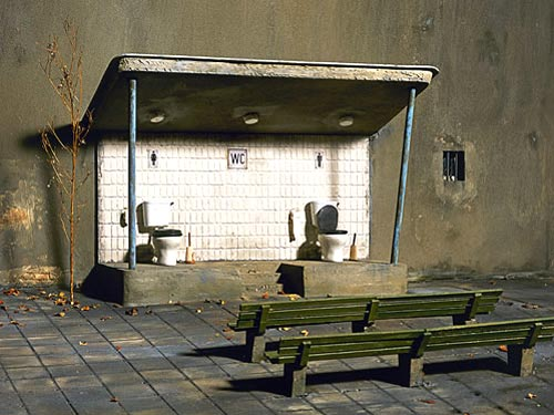Mens and Womens Toilets On Public Stage