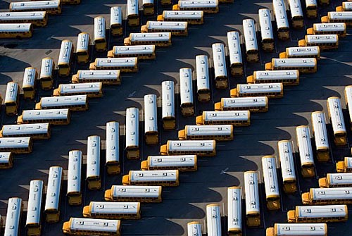 Aerial Photo Of Parked School Bus Fleet