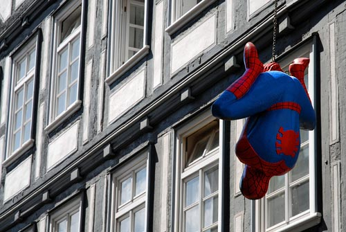 Spider-Man Balloon Hanging In Marburg, Germany