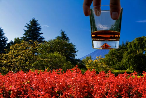 Peak of Mount Fuji Through A Whiskey Glass