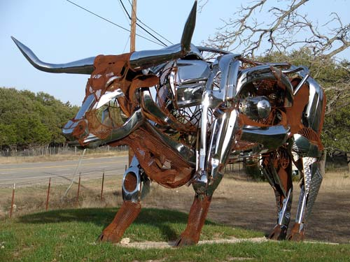 Rust And Chrome Bull Scuplture