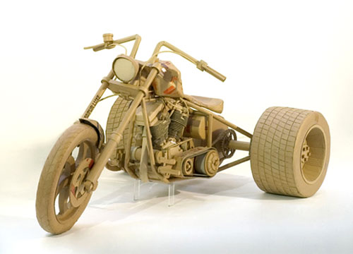 Cardboard Motorcycle Sculpture