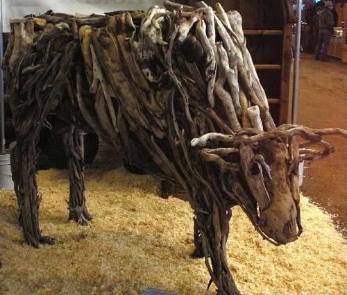Driftwood Bull Sculpture
