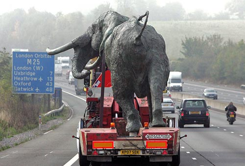 Life-Size Elephant Sculpture On The M25