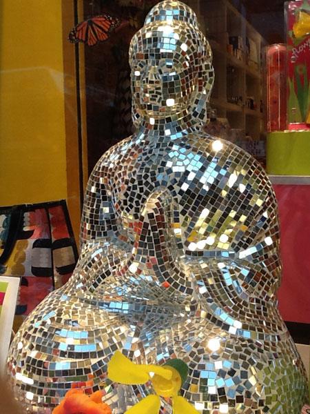 Mirror Shard Mosaic Tara Buddha Statue