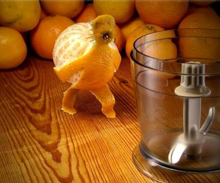 Orange Peel Carrying Orange To The Juicer | Art Carving