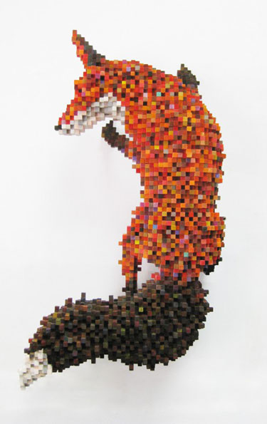 Pixelated Fox Sculpture