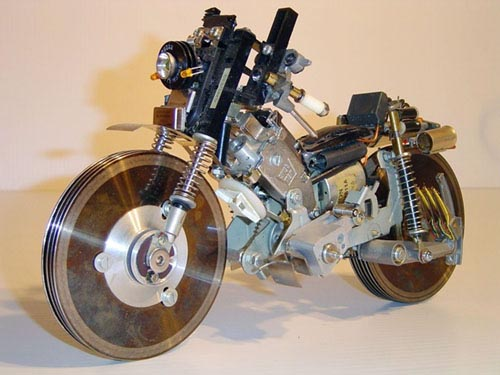 Recycled Computer Motorcycle Sculpture