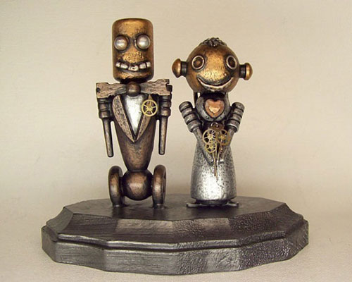 Robots Wedding Cake Topper