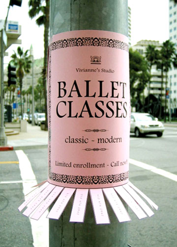 A Poster Attached To A Pole Advertising Ballet Classes. The Tear Off Phone Numbers Are Bent Slightly To Make The Poster Appear As A Tutu