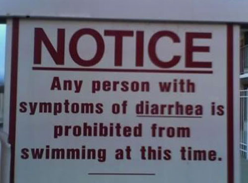 Pool Notice - Any Person With Symptoms Of Diarrhea Is Prohibited From Swimming At This Time