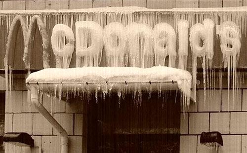 Frozen McDonalds Sign