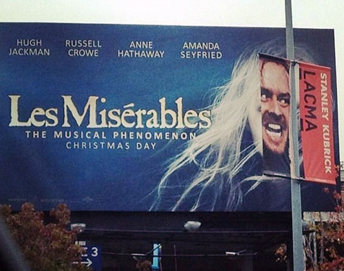 Movie Billboards Shining Over Les Miserables