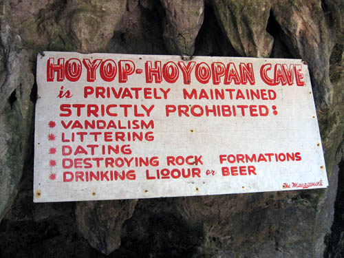 No Dating Sign at entrance of Hoyop-Hoyopan Cave | Camalig, Albay