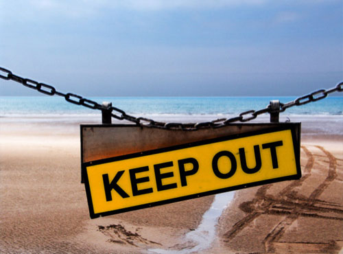 Keep Out Beach Sign