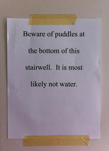 Beware Of Puddle Sign. It Is Most Likely Not Water