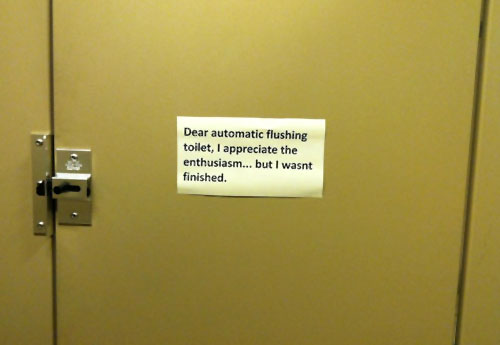 Dear Automatic Flushing Toilet, I Wasn't Finished