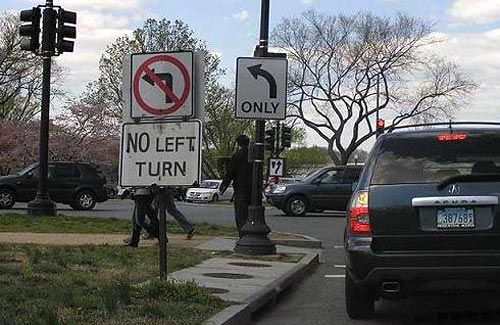 Two Conflicting Traffic Sign