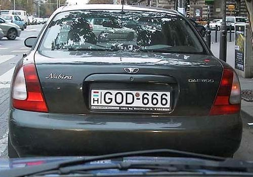 GOD 666 License Plate Numbers On A Car In Hungary