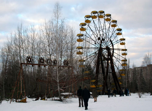 Abandoned Ferris Wheel In An Amusement Park At Chernobyl