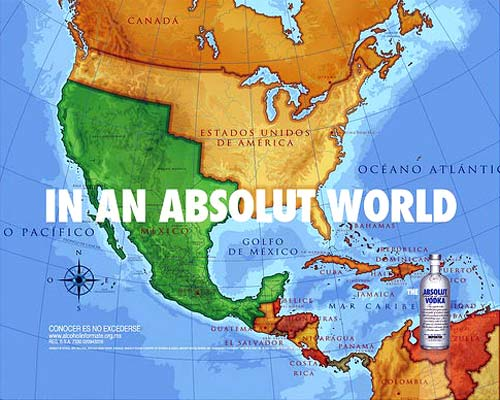 Absolut Vodka | Absolut Mexico Map Print Ad