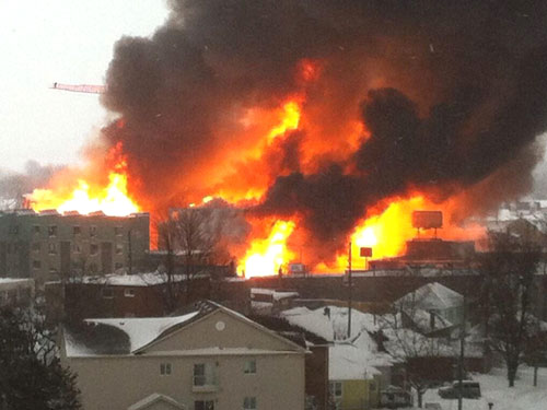 Fire Engulfing A Construction Crane In Kingston