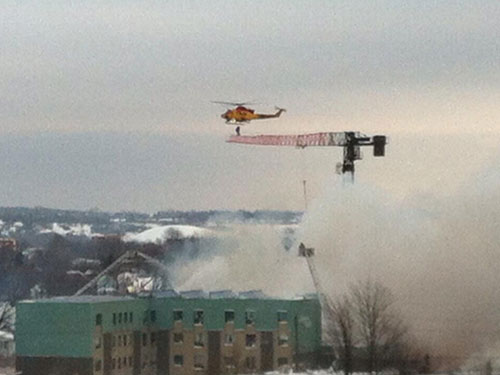 Helicopter Rescue Of A Crane Operator In Kingston, Ontario